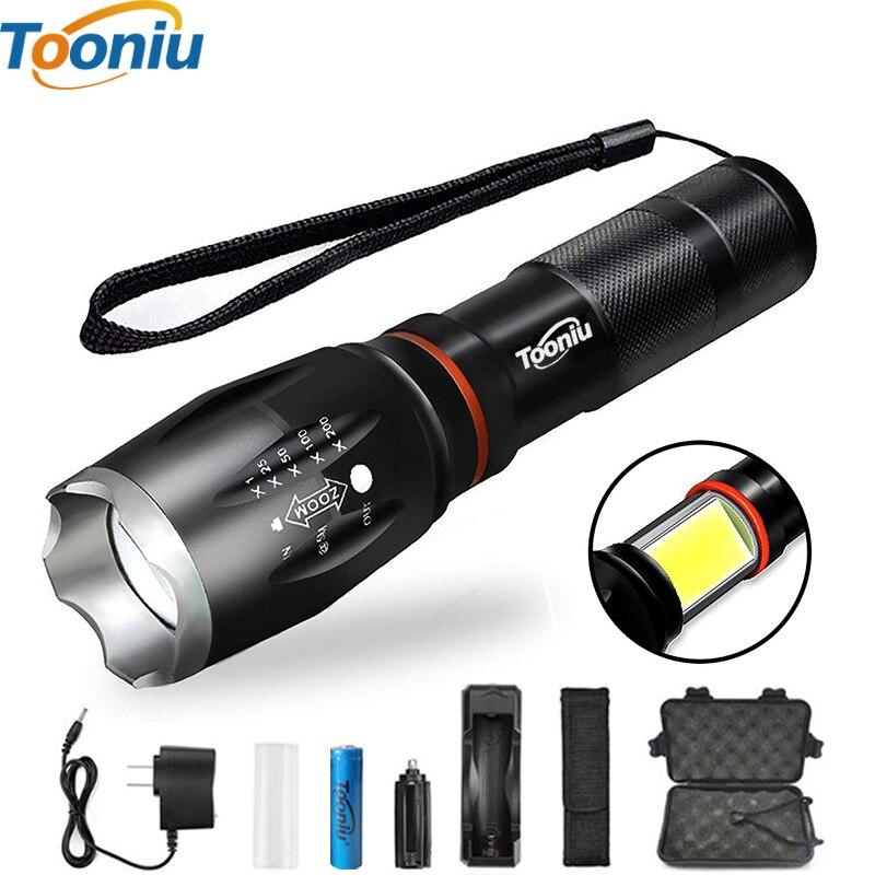 Tooniu Wasserdichte CREE LED Taschenlampe COB XM-L T6 L2 Aluminium Zoombare Taschenlampe licht für 18650 Akku oder AAA
