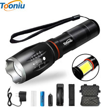 Tooniu Waterproof CREE LED Flashlight COB XM-L T6 L2 Aluminum Zoomable Torch light for 18650 Rechargeable Battery or AAA(China)