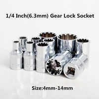 Brand New 12PC Gear Lock Sockets Wrench Set Auto Repair Tool 1/4 Inch(6.3mm) Size:4mm-14mm