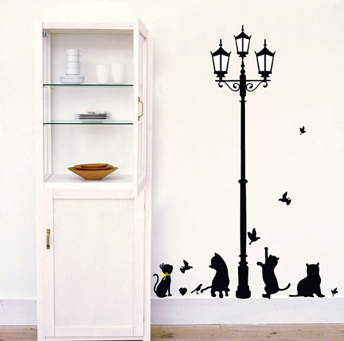 New Hot Naughty Cats Birds and Street light Lamp Post Wall Stickers New Hot Naughty Cats Birds and Street light Lamp Post Wall Stickers HTB1SKCGJVXXXXaKXpXXq6xXFXXXm