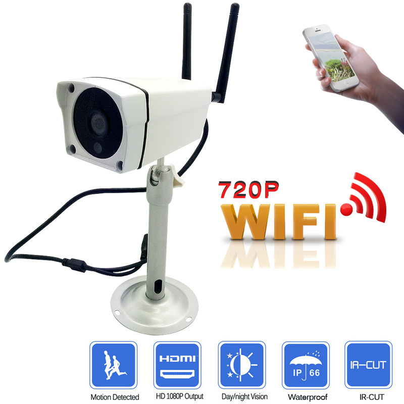 720P HD Wireless CCTV IP Camera Mini Bullet WIFI Camera Outdoor waterproof Surveillance Security video system Infrared onvif p2p mini bullet cvbs ccd camera 700tvl with headset mount for mobile surveillance security video 5v