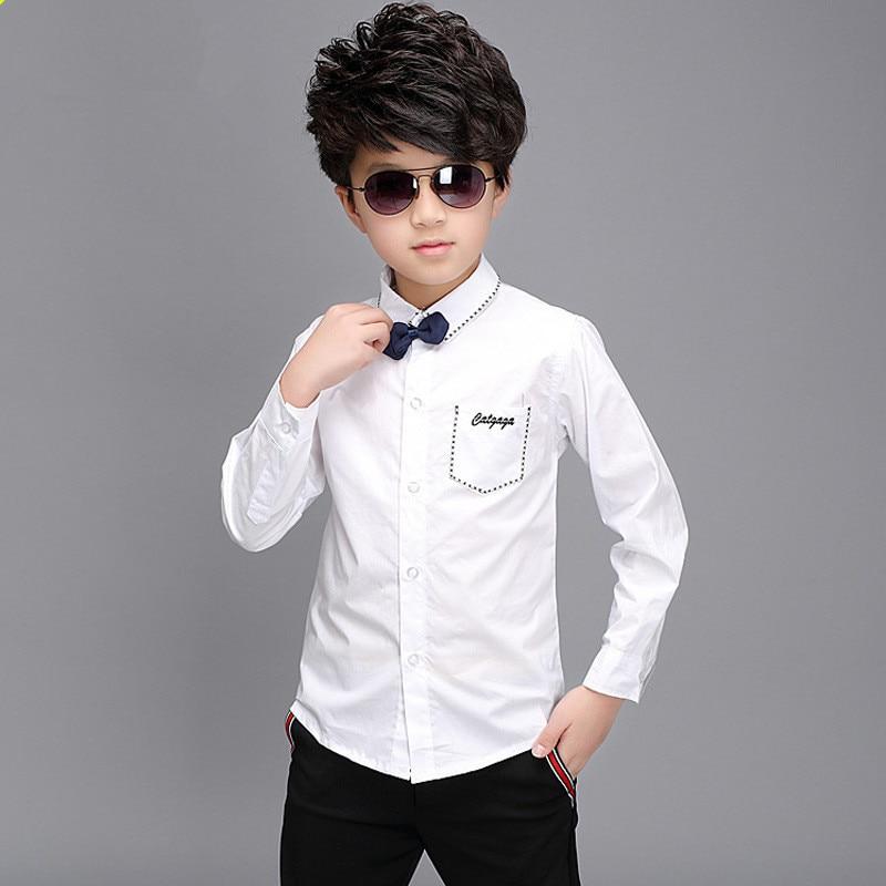 2015 autumn new big boys clothes white black cotton for Dark denim toddler shirt