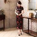 Tradicional estilo chinês vestido longo das mulheres Cheongsam elegante fino Qipao roupas Plus Size sml XL XXL XXXL 4XL 5XL 6XL J3082