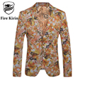 Fire Kirin Blazer Men 2017 Brand-clothing Slim Fit Mens Floral Blazer Party Wear Dress For Men Stage Jacket Male Prom Suit Q97