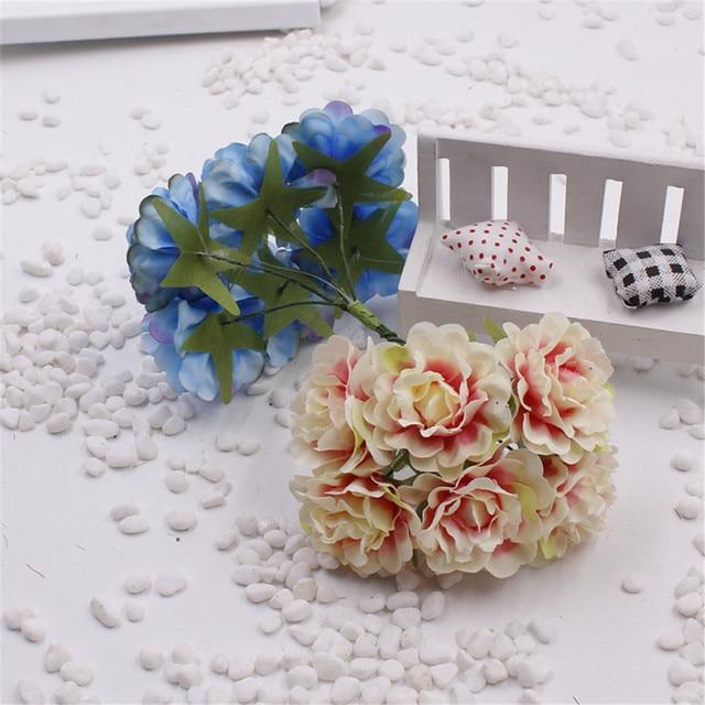 6PCS, 2.5CM head mini fabric chrysanthemum artificial silk flower ...