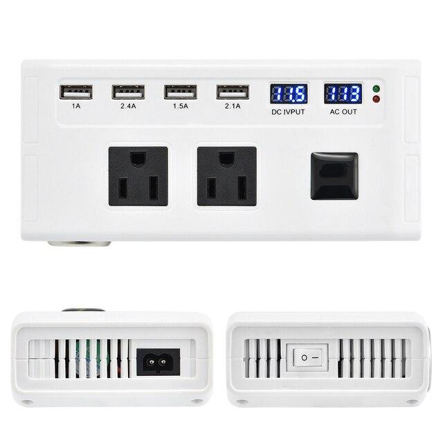 Universal 200W Power Inverter 12V to 110V 220V Car Inverter Cigarette Lighter Plug 12v 220v Inverter with 4 USB Ports