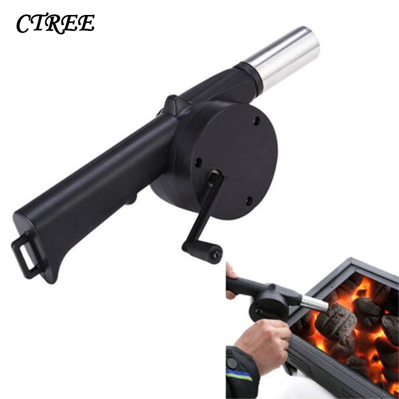 Hand Crank Powered Fan Air Blower For Outdoor Picnic BBQ Fire Camping Equipment