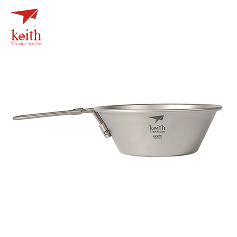 keith tigela com alca dobravel ultraleve de titanio acampamento panelas de fundo dobravel tigelas talheres