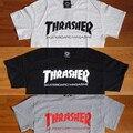 Nova tee Manga Curta skate thrasher T Shirt Homens Skates Homem Tshirts Tops Hip Hop homme trasher Revista trasher T camisa