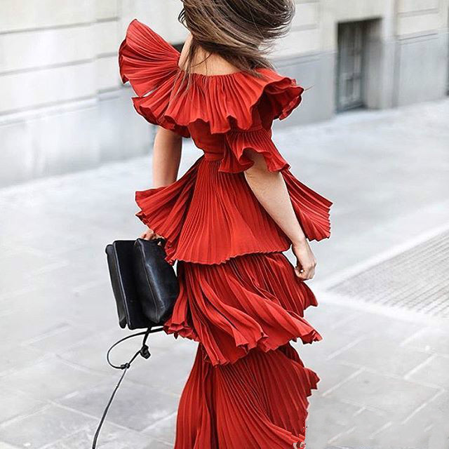 2019 Limited Rushed Polyester Solid Short Ankle-length Dress Vadim Summer Dress Layer Cake Collar Wood Ear Pleated Maxi Woman