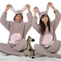 Winter Spring Fleece Women Men Ladies onesie Adult Footed Pajamas Gray Rabbit Bunny Pyjamas Hooded Couple Sleepwear