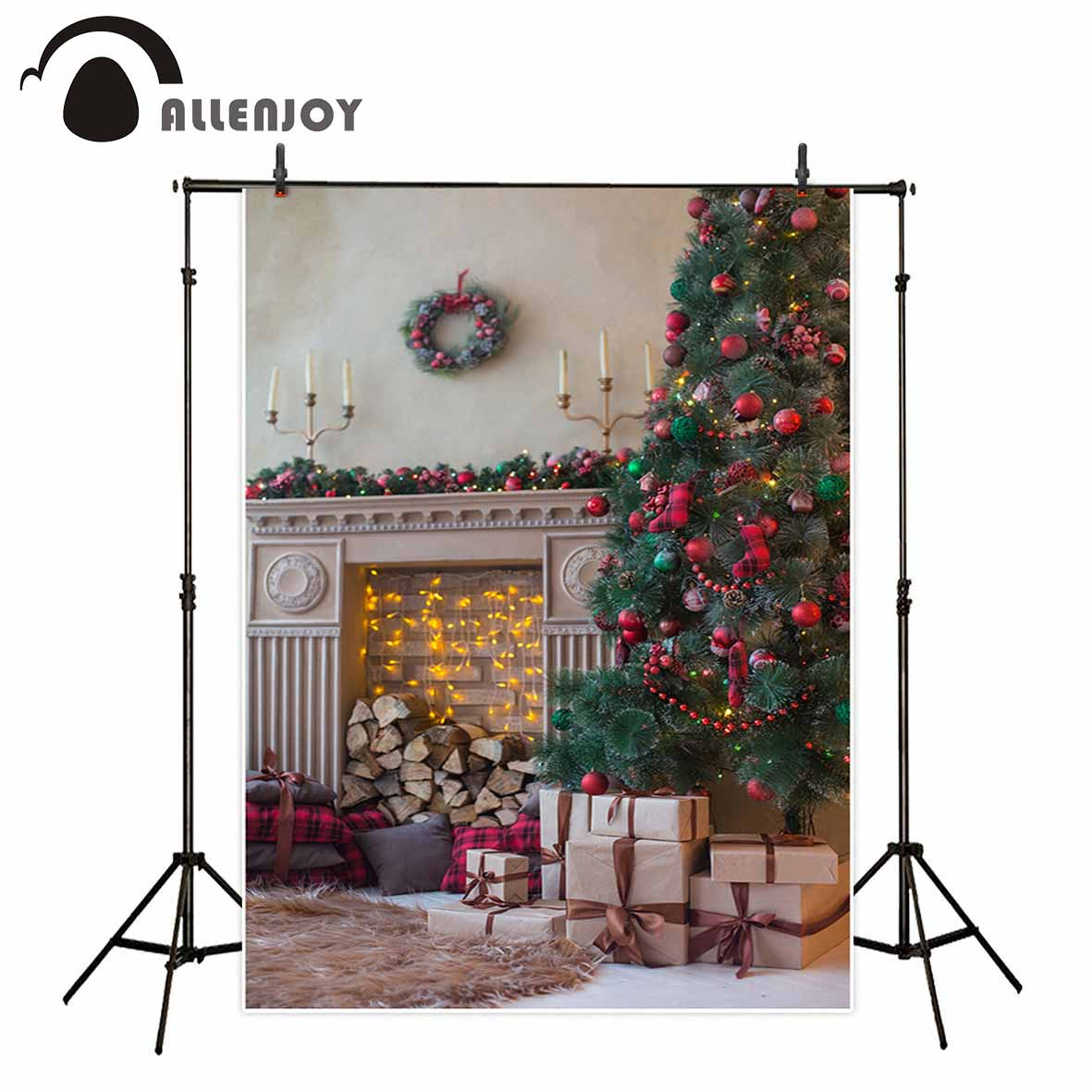 Allenjoy Modern warm Christmas decoration tree gift wreath candle fireplace wood carpet red ball backgrounds for photo studio christmas tree backdrop photography allenjoy wooden carpet fireplace xmas tree background photographic studio vinyl camera