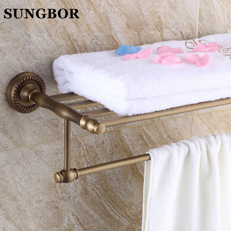 цена на Brass hotel bathroom bath towel holder, Square antique shelf towel rack, Retro double storage rack towel bar SY-4512F