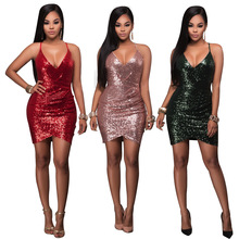 Women Sexy Red Green Pink 3 Colors Sequins Bodycon Bandage Dress Sexy Night Club Mini Dresses