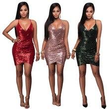 Mujeres Sexy Verde Rojo Rosa 3 Colores Lentejuelas Bodycon Del Vendaje dress sexy night club mini vestidos de partido de coctel mujer nueva llegadas