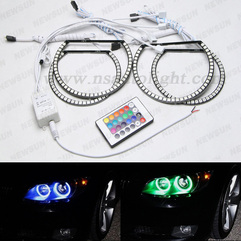 4x RGB LED Angel Eye Halo Rings Light Lamp remote control For BMW E46 M3