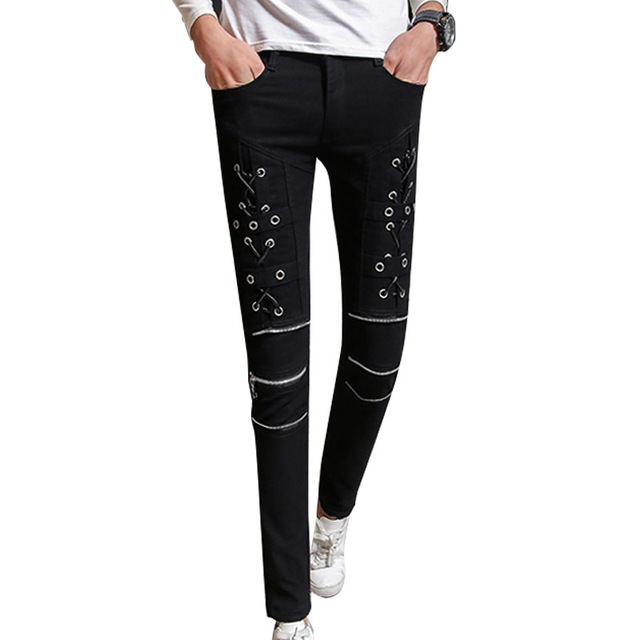 Men Skinny Pencil Pant Punk Gothic Denim Pant Zipper Jeans Black Male Fashion Casual Denim Trousers Stage Clothing