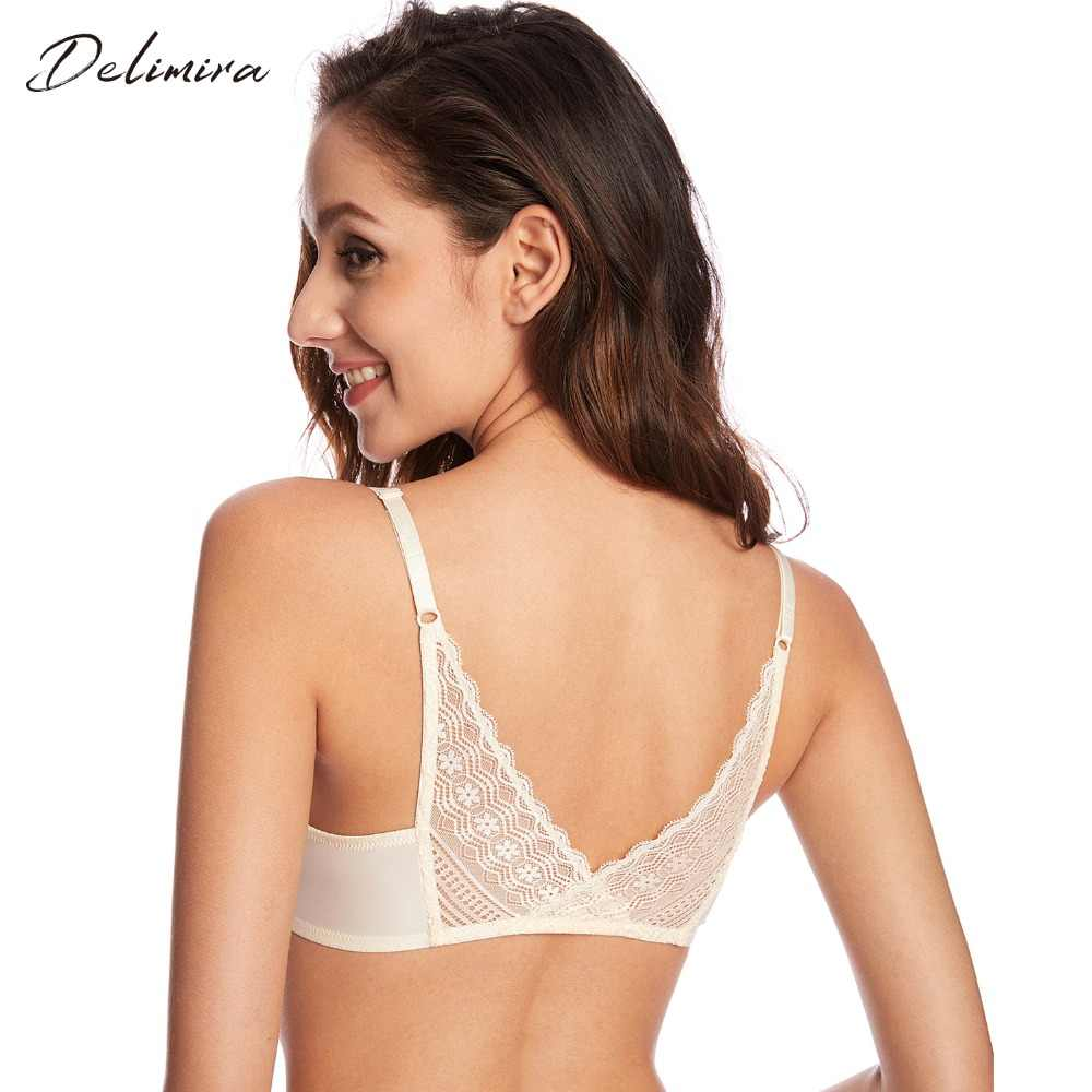 Women's Sexy Front Closure Bra Floral Lace Back Underwired T-shirt Padded Push Up Bra Bralette Plunge