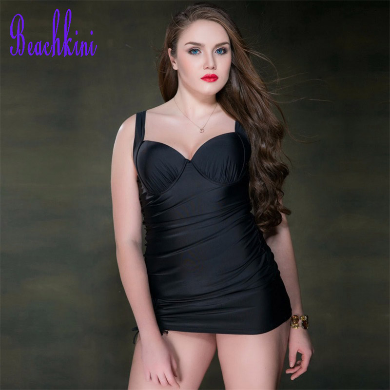2017 New One Piece Solid Swimsuit Women Large Size Bodycon Swimwear Push Up Bodysuit Cover-ups Bathing Suits Dress 2017 one piece swimdress mature plus size women skirt v neck swimwear push up bodysuit sexy bathing suits large cup swimsuit