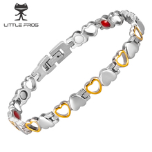 LITTLE FROG Magnetic Bracelets for Women Heart Women Bracelet Germanium Health Energy Stainless Steel Bracelet Women Benefits stainless steel hologram bracelet germanium balance energy care magnetic power health bracelets bangles