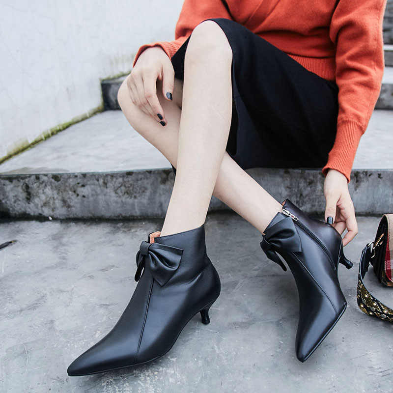 Hakiki deri yay bağları kravat yarım çizmeler Seksi Sivri Burun ince Yüksek Topuklu Gece Kulübü elbise Ayakkabı siyah pembe Kadın yarım çizmeler