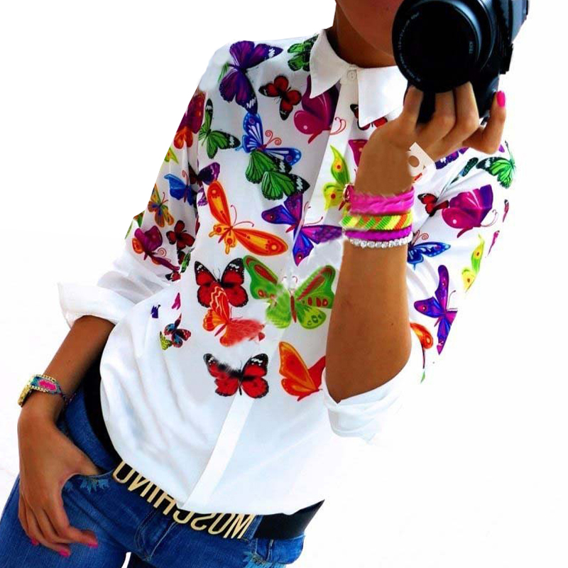 Floral/ Butterfly Printed Blouse Shirt W