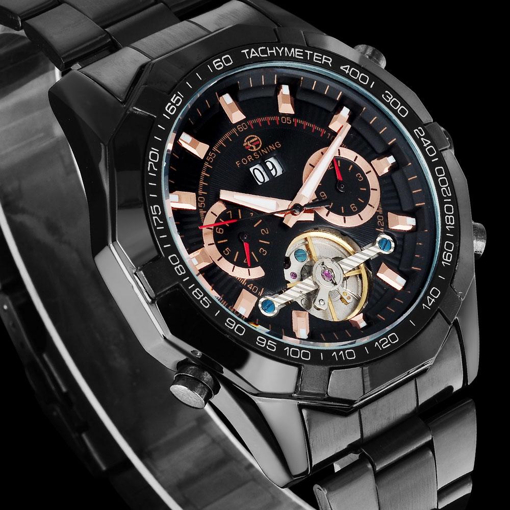 FORSINING hommes Top marque montre de luxe Tourbillon Auto mécanique montres Bracelet en acier inoxydable horloge Relogio Masculino - 2