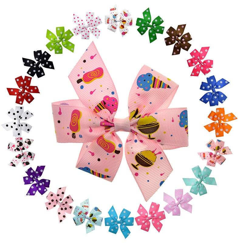 20PCS 7 Styles 3.5 Pinwheel Hair Bows Kawaii Character Polka Dots Solid Small Hair Clips Kids Girl Hair Accessories Wholesale