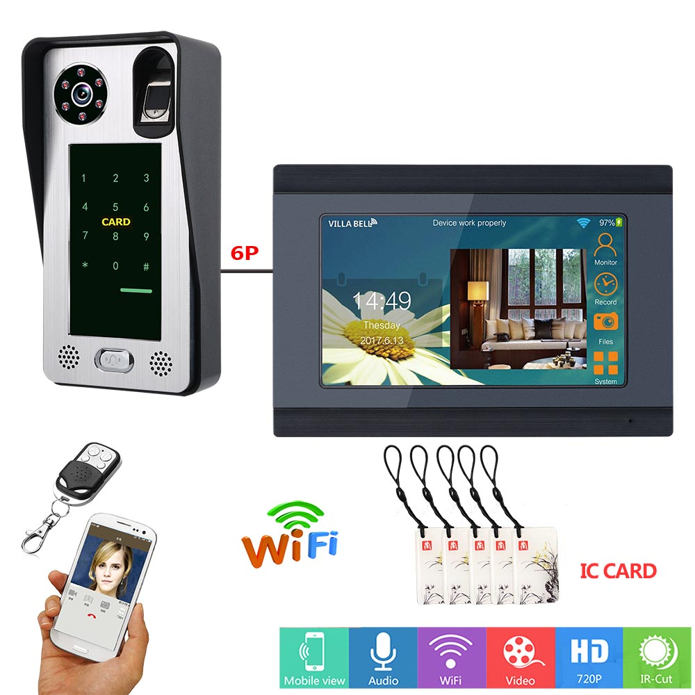 MOUNTAINONE 7 Inch Wired Wifi Fingerprint IC Card  Video Door Phone Doorbell Intercom System With Door Access Control System