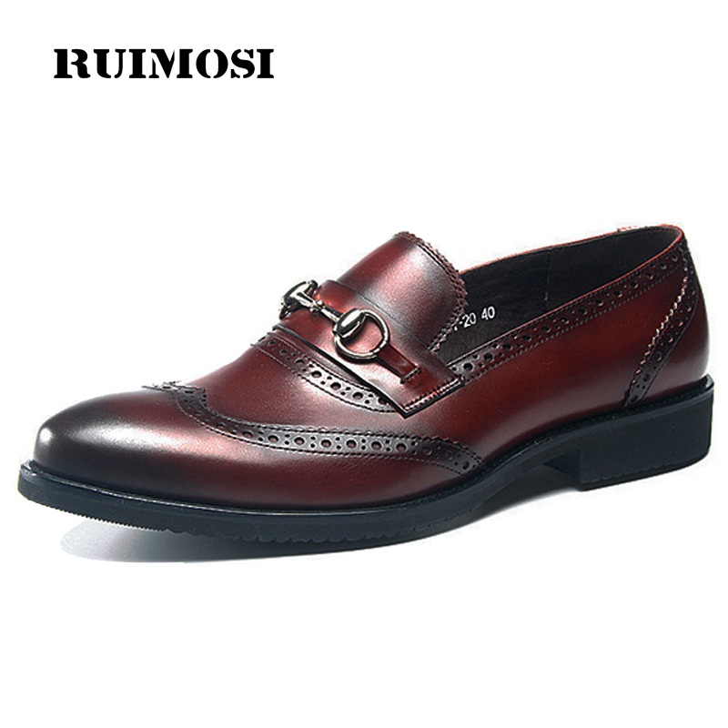 RUIMOSI Hot Vintage Wing Tip Man Brogue Shoes Genuine Leather Formal Dress Loafers Round Toe Slip on Bridal Men's Footwear GD33