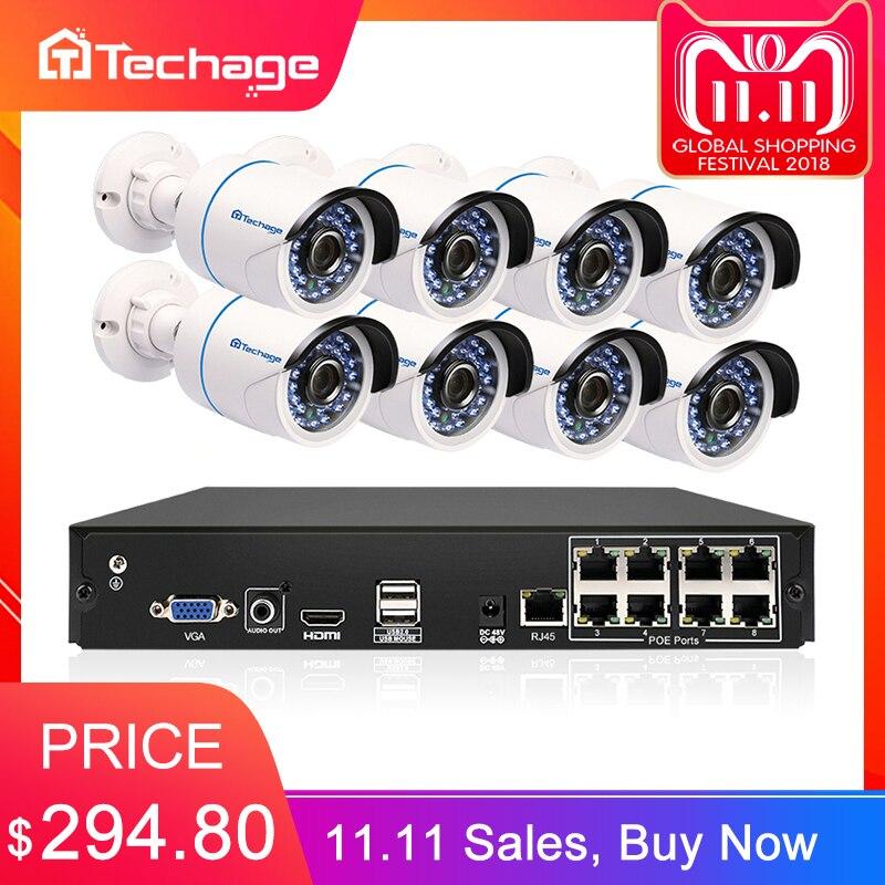 Techage 8CH 1080 p HDMI POE NVR Kit de sistema de seguridad CCTV 8 piezas al aire libre 2MP de sonido de Audio cámara IP P2P sistema de Video Vigilancia Conjunto