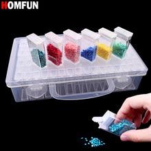 цена на HOMFUN Diamond embroidery diamond painting tool! 64 lattice, transparent plastic storage box, 64 Grid jewelry Drill Storage Box