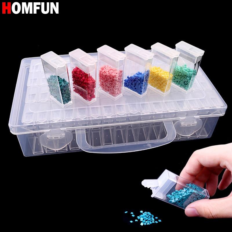 HOMFUN di Diamante del ricamo diamante strumento di pittura! 64 reticolo, di plastica trasparente scatola di immagazzinaggio, 64 Griglia Scatola di Immagazzinaggio gioielli Trapano