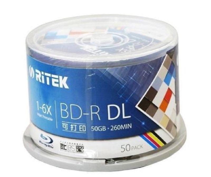 10 Pieces 50GB BD-R 2-8X Speed Ritek Printable Bluray DL Double Layer Blank DVD Disc