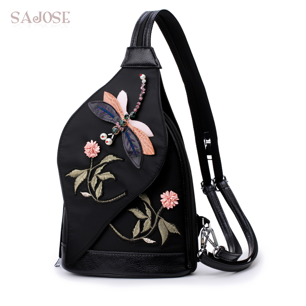 Multifunctional Oxford Women Backpack Flowers Embroidery Shoulder Dragonfly Retro School Bag For Teenage Girl Chest Pack SAJOSE
