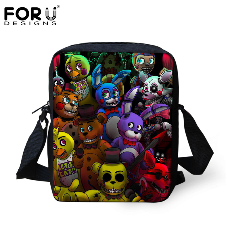 FORUDESIGNS Five Nights at Freddys FNAF Pattern Women Men Handbags Luxury Designer Mini Crossbody Bag for Kids Boys Girls Bolsas