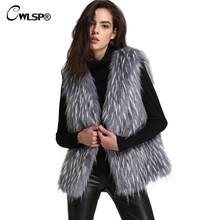 CWLSP Winter Women Faux Fur Coat 2017 Fashion Sleeveless Warm Fur Vest Coat Women Free Size casaco de inverno feminino QL3231