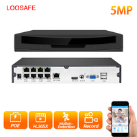 LOOSAFE HDMI Full HD 8CH 5MP POE NVR Network Video Recorder for PoE IP Cameras P2P XMeye CCTV System