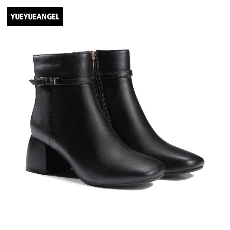 European Fashion Square Rough Short Boots Female Winter New High Heel Shoes Zipper Fleece Lining Warm Shoes Women Buckle Boots