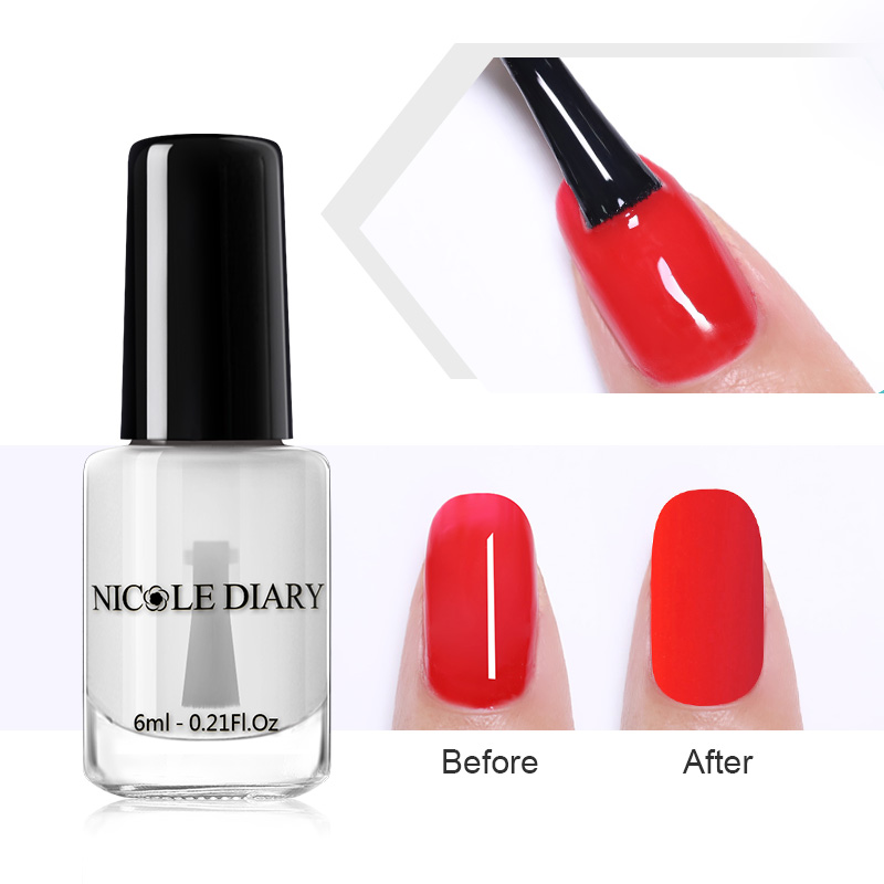 Nicole Diary Matte Top Coat 6ml L Off Nail Polish Odorless Art Varnish Water Based Lacquer Needed