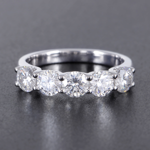 Image 2 - Transgems 1.25 Carat CTW 4mm F Color Solid 14K 585 white Gold Half Eternity Wedding Band Moissanite Diamond Wedding Band
