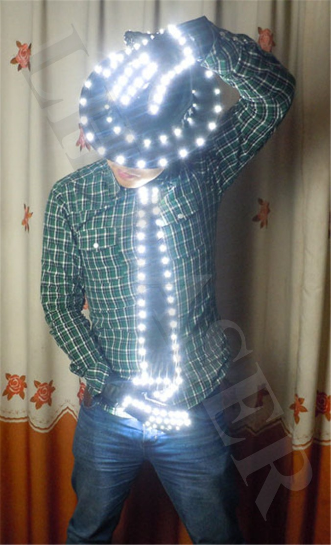 Free Shipping LED Costume Clothes Festive Party Supplies LED Stage Wear LED Suit For Michael Jackson jacket Cosplay Costume