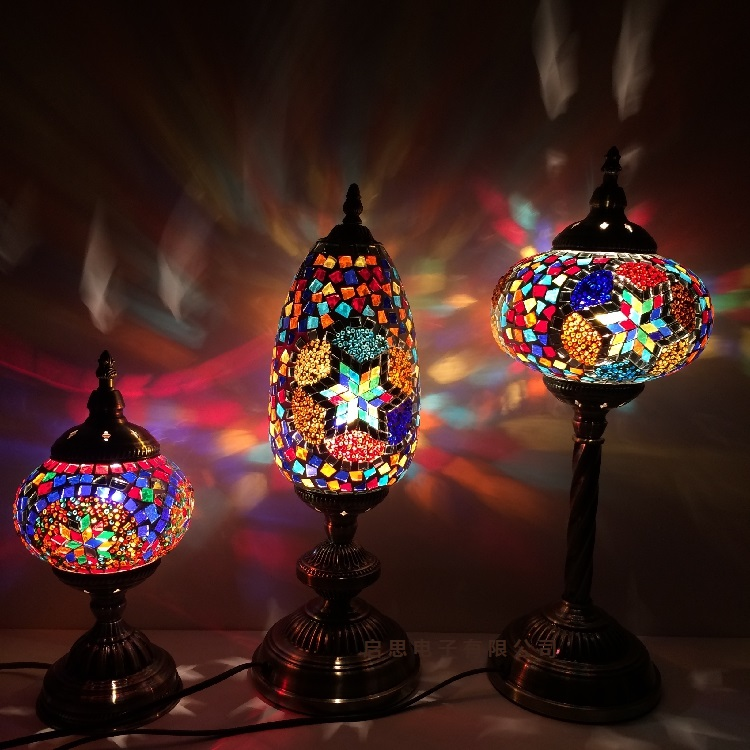 Turkish Mosaic Table Lamp Mediterranean Art Deco Handcrafted Glass romantic bed light la ...