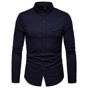 Image 5 - Mens Solid แมนดาริน 2019 เสื้อลำลอง SLIM FIT ไวน์แดงชุดเสื้อสำหรับชายขนาด Woke Tops Camisas social Masculina