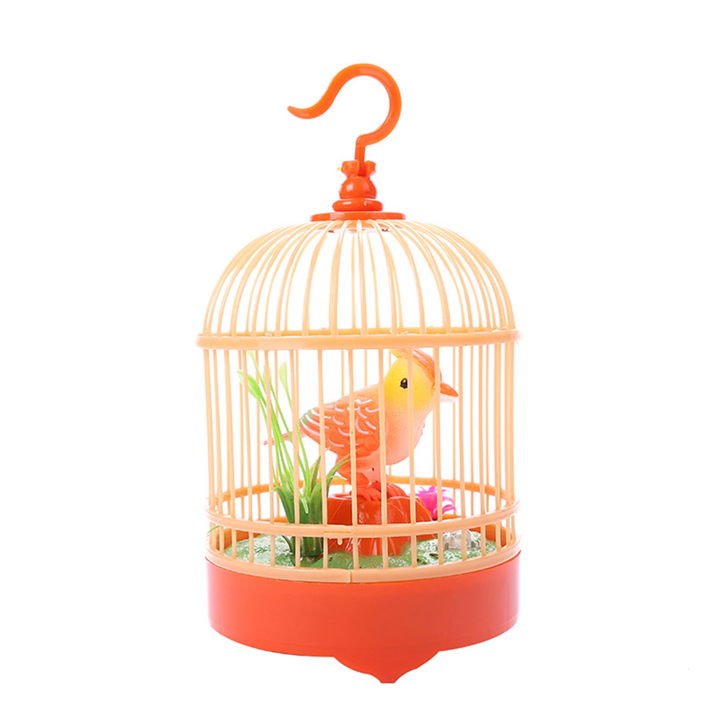 Electronic Bird Singing Chirping Bird Toy In Cage Kids Voice Control Electronic Pet Toy Random Color