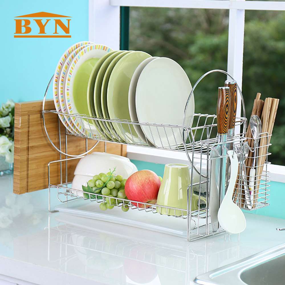 BYN 2 Layer Stainless Dish Drying Rack Multifunctional Kitchen Storage Holder Collapsible Cup Knife Draining Shelf DQWDJ02