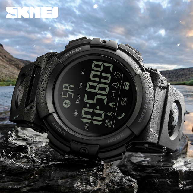 8f995d7a477 SKMEI Bluetooth Smart Watch Fashion Outdoor Pedometer Calories Remote  Camera Sports Watches 50M Waterproof Digital Wristwatches