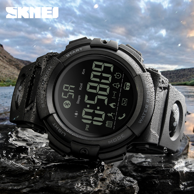 SKMEI Bluetooth Smart Watch Fashion Outdoor Pedometer Calories Remote Camera Sports Watches 50M Waterproof Digital Wristwatches