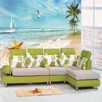 Пользовательский 3D стереоскопический большой mural песчаный пляж диван ТВ фоне обоев ткань фото обои спальня гостиная столовая
