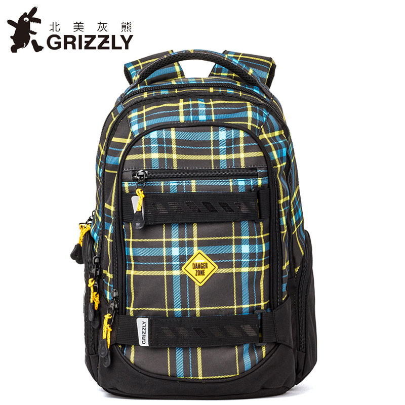 GRIZZLY NEW Laptop Backpack Men for Teenager Boys Fashion Large Capacity Mochila Multifunction Travel Bags Waterproof School Bag